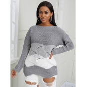 Lovely Casual Dropped Shoulder Color-lump Asymmetr