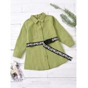 Lovely Casual Button Pocket Design Green Girl Blou