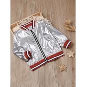 Lovely Street Striped Zipper Design Silver Boy Coa