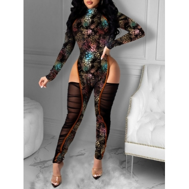 Lovely Sexy Hollow-out Mesh Patchwork Black One-pi