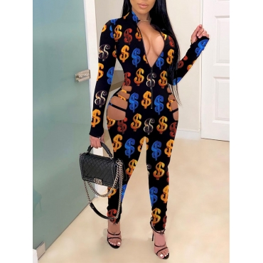 Lovely Party Dollar Sign Print Hollow-out One-piec
