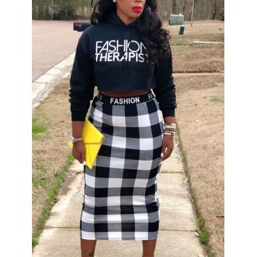 Lovely Trendy Hooded Collar Letter Plaid Print Bla