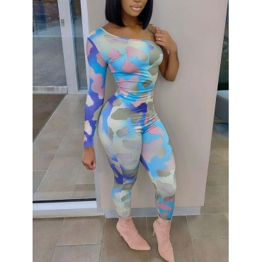 Lovely Sweet One Shoulder Camo Print Blue One-piec
