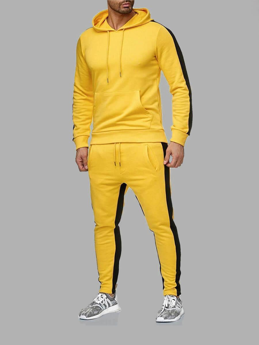 LW Men Sportswear Patchwork Drawstring Yellow Two Piece Pants Set