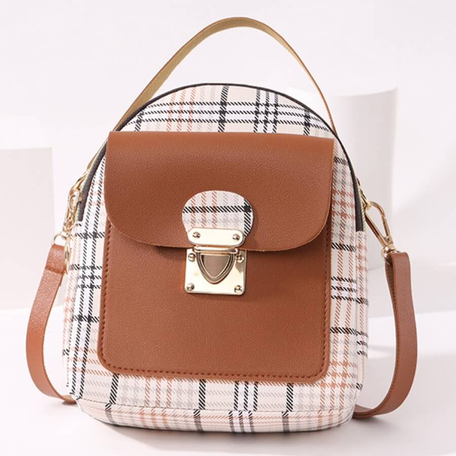 LW Casual Plaid Print Patchwork Metal Accessories Decoration Brown Crossbody Bags