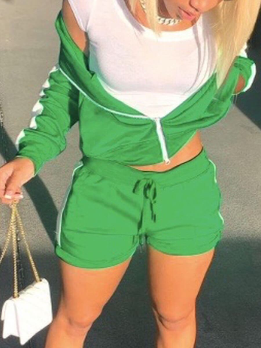 LW Sportswear Patchwork Drawstring Green Two Piece Shorts Set