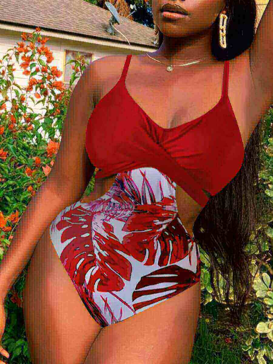Lovely Casual Floral Print Patchwork Hollow-out Red One-piece Swimsuit