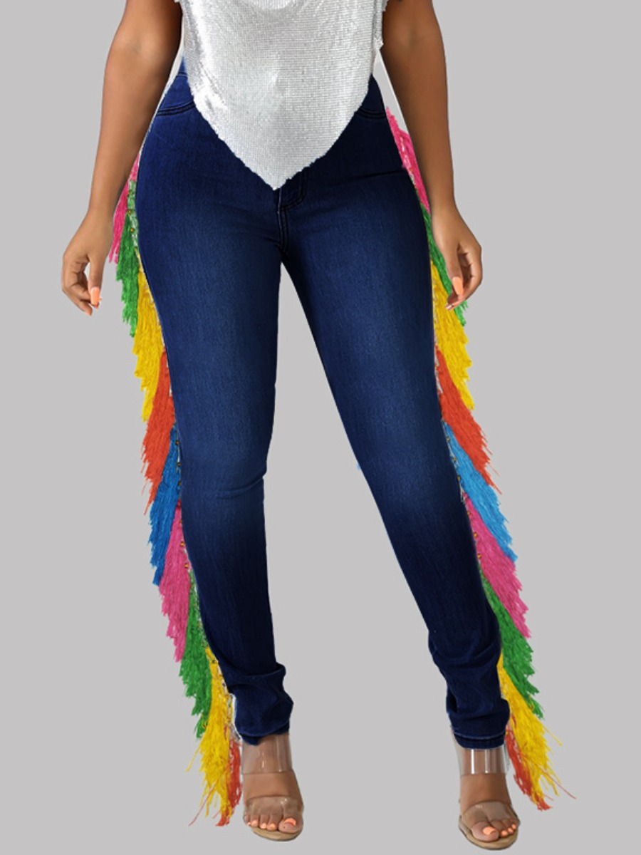 LW Plus Size Casual Tassel Design Patchwork Deep Blue Jeans