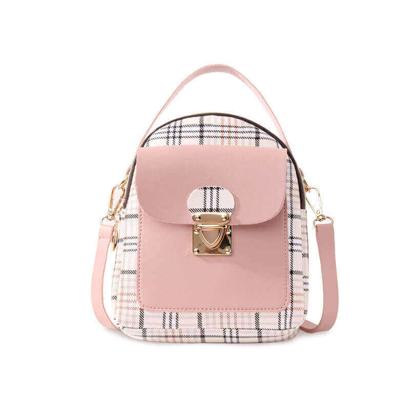 Lovely Casual Plaid Print Patchwork Metal Accessories Decoration Pink Crossbody Bag