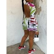 Lovely Street Backless Graffiti Print White Mini Dress