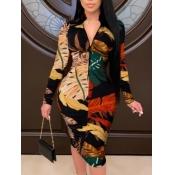 Lovely Casual Leaf Print Zipper Design Khaki Knee Length Plus Size Dress