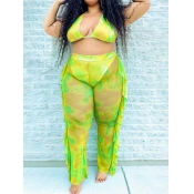 Lovely Casual Flounce Design Tie-dye Yellow Plus Size Two-piece Swimsuit