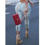 Lovely Street Bandage Hollow-out Design Baby Blue Jeans