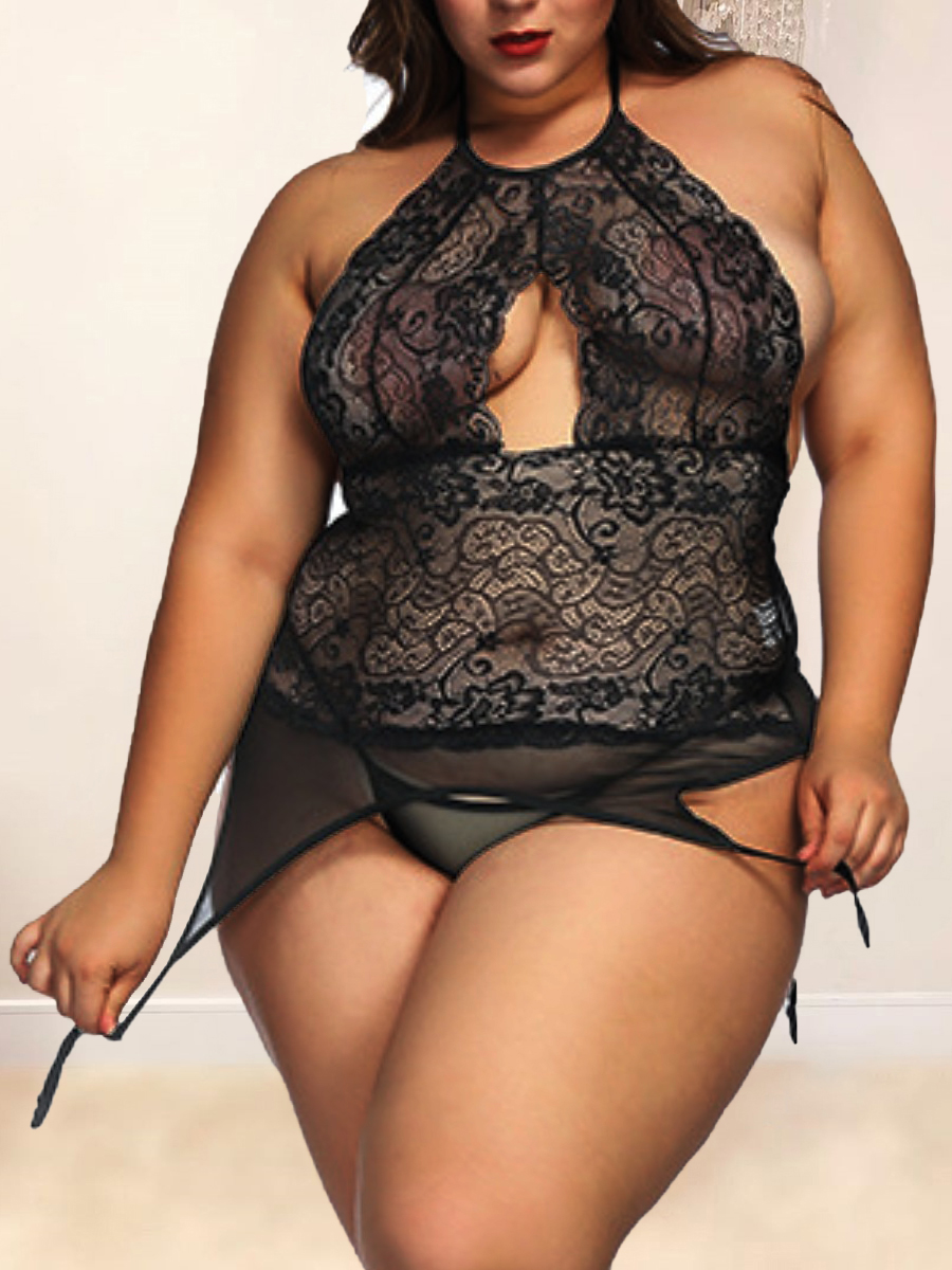 lovelywholesale / LW Lovely Sexy See-through Hollow-out Black Plus Size Teddies