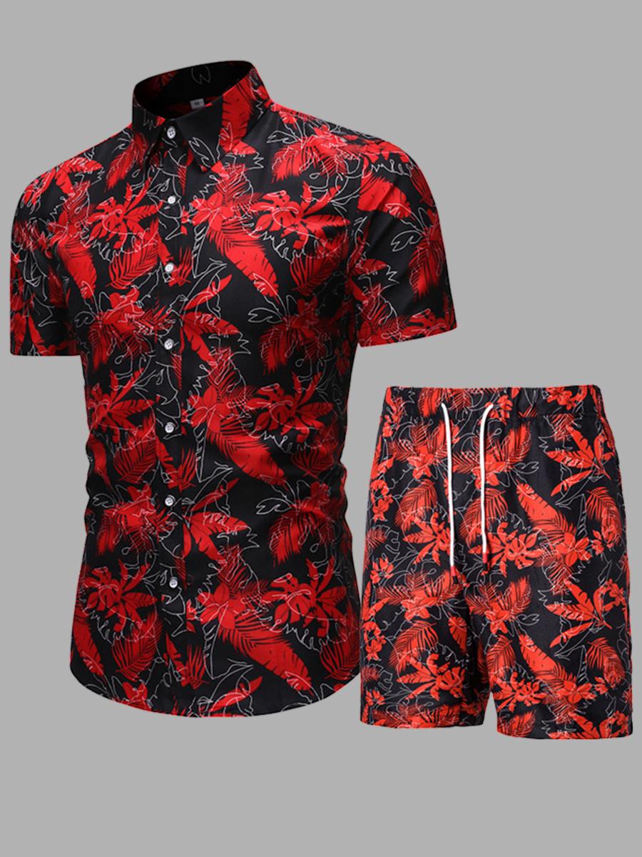 LW Boho Floral Print Drawstring Red Men Two Piece Shorts Set