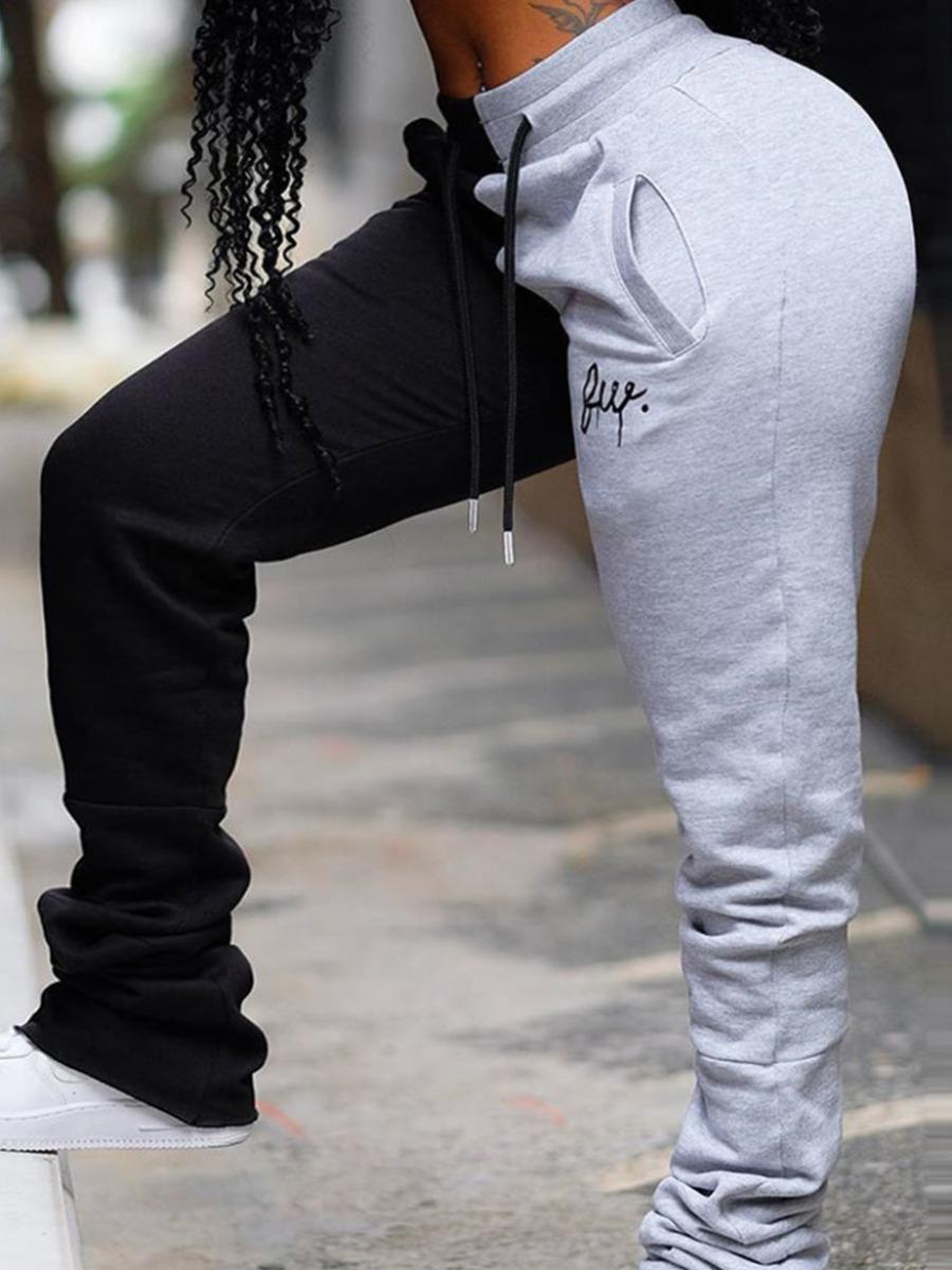 LW Plus Size Casual Fold Design Drawstring Patchwork Grey Pants