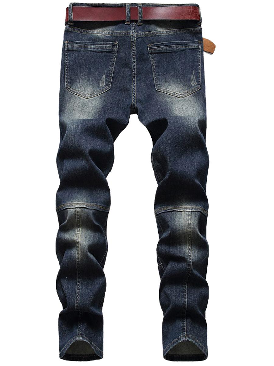 Lovely Men Street Mid Waist Tie-dye Blue Jeans