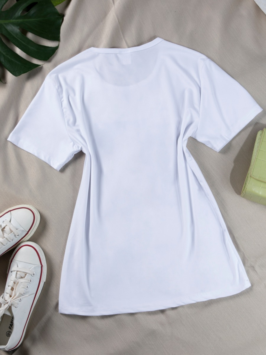Lovely Casual O Neck Print Patchwork White T-shirt