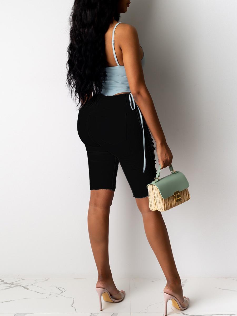 Lovely Street High-waisted Ripped Black Denim Shorts