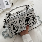 Lovely Street Letter Print Patchwork White Crossbody Bag