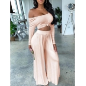 Lovely Casual Boat Neck Loose Pink Plus Size Two-piece Pants Set