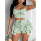 Lovely Sweet Flounce Design Ruched Drawstring Green Two Piece Shorts Set