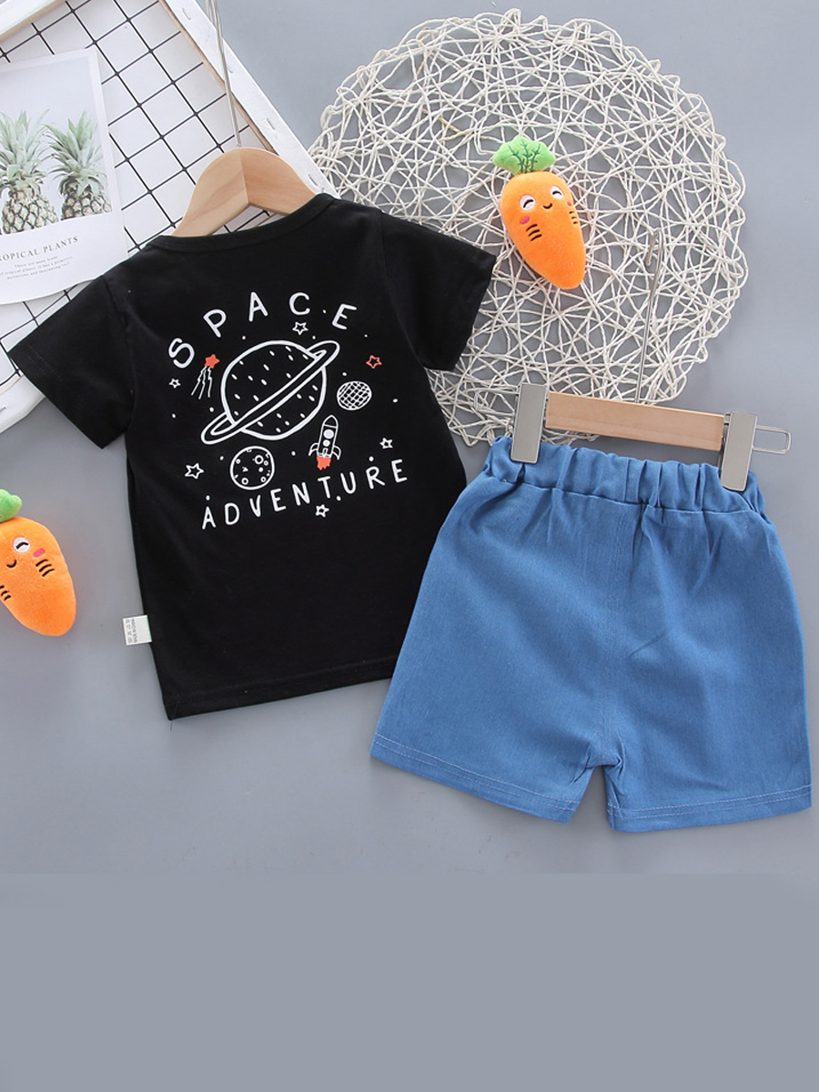 Lovely Boy Casual Planet Letter Print Black Two Piece Shorts Set