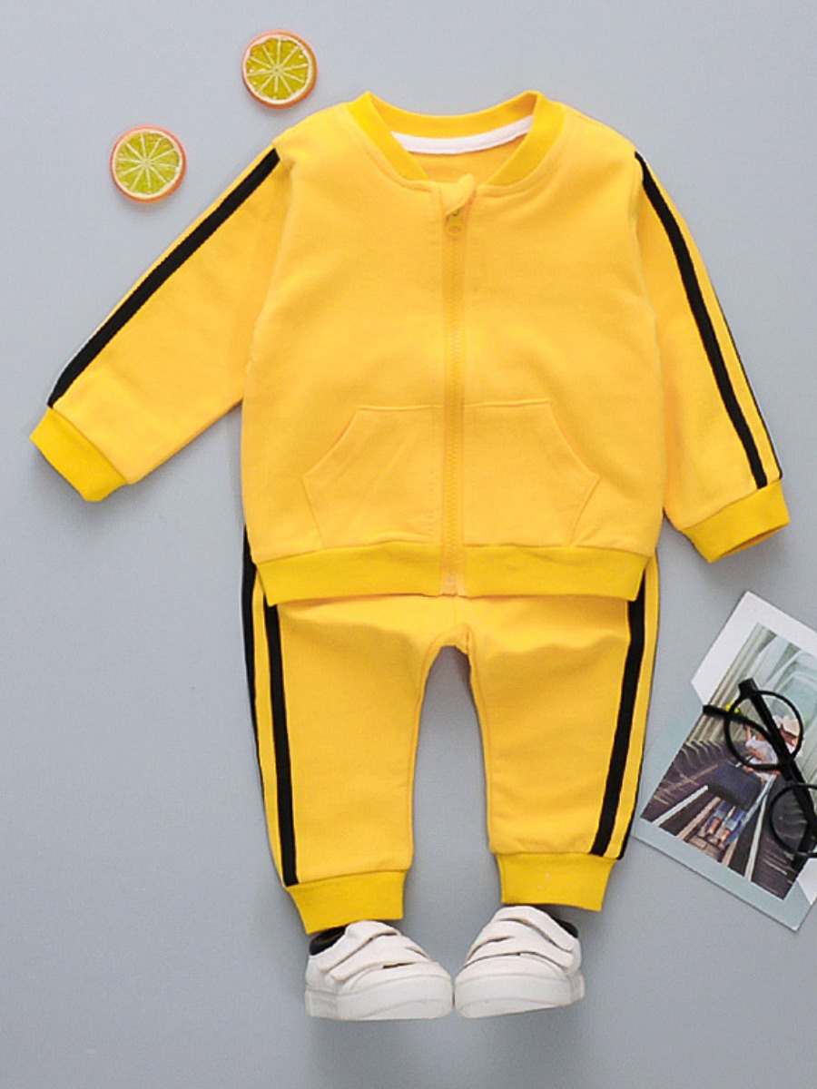 Lovely Sporty Boy Striped Kangaroo Pocket Yellow Two Piece Pants Set