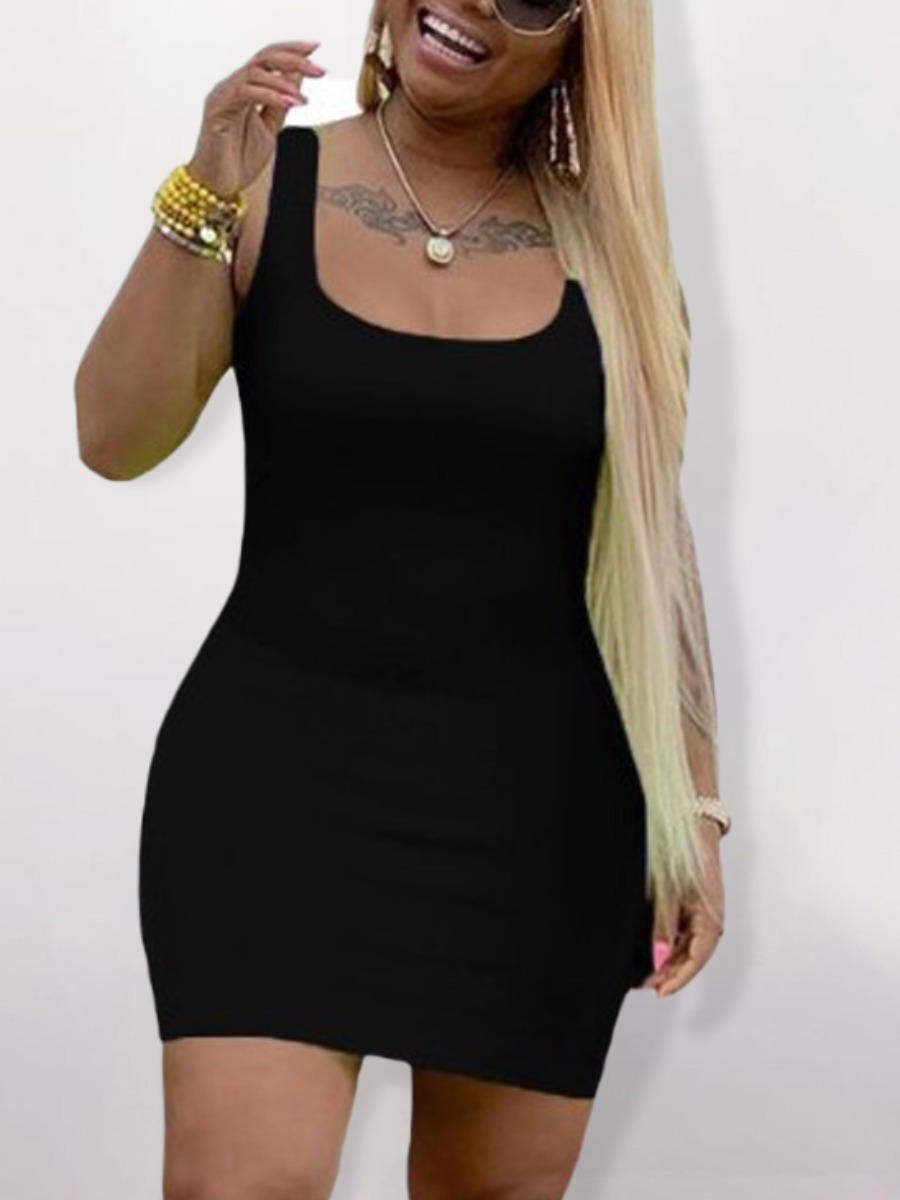 Lovely Plus Size Casual U Neck Basic Skinny Black Mini Dress