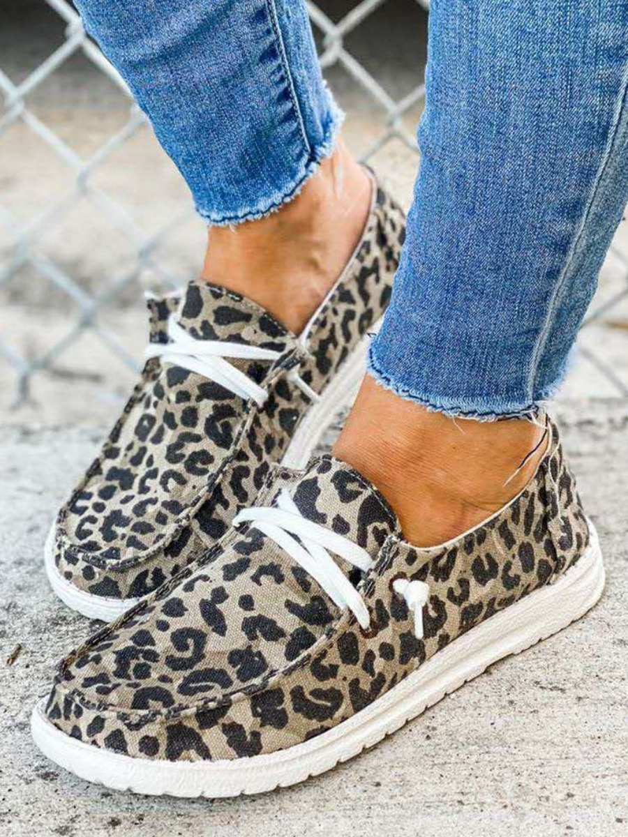 Lovely Casual Leopard Print Lace-up Flats
