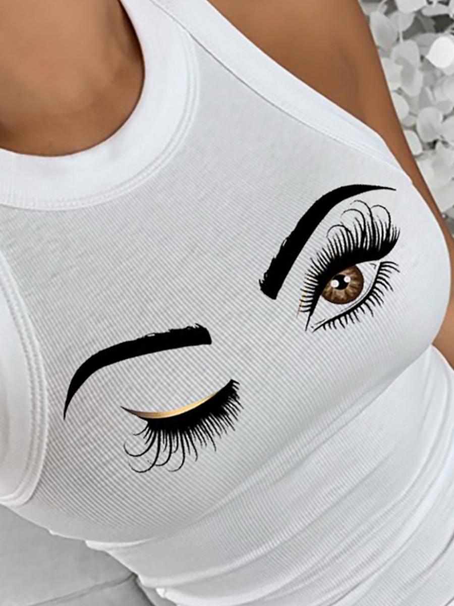 LW BASICS Casual O Neck Eye Print White Camisole