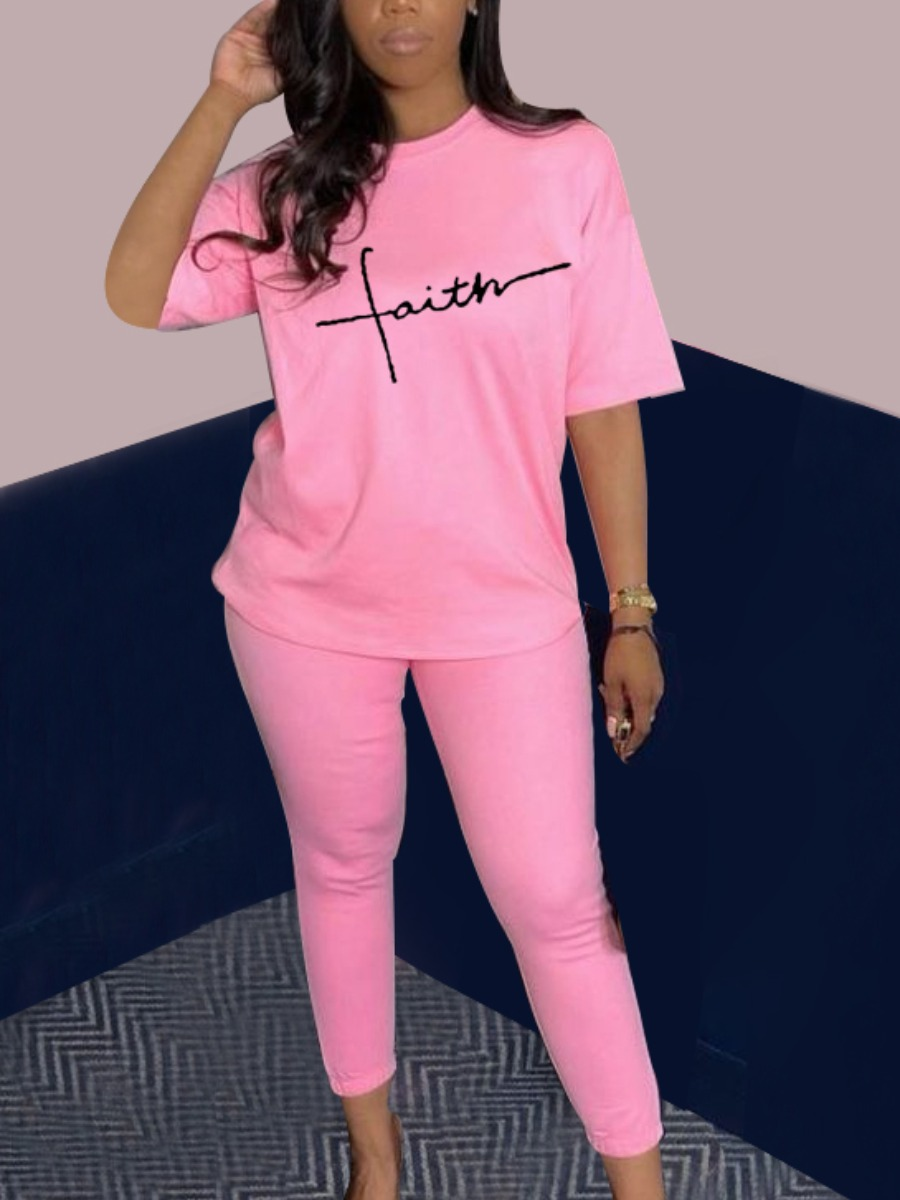 LW Casual Letter Print Drawstring Pink Two Piece Pants Set