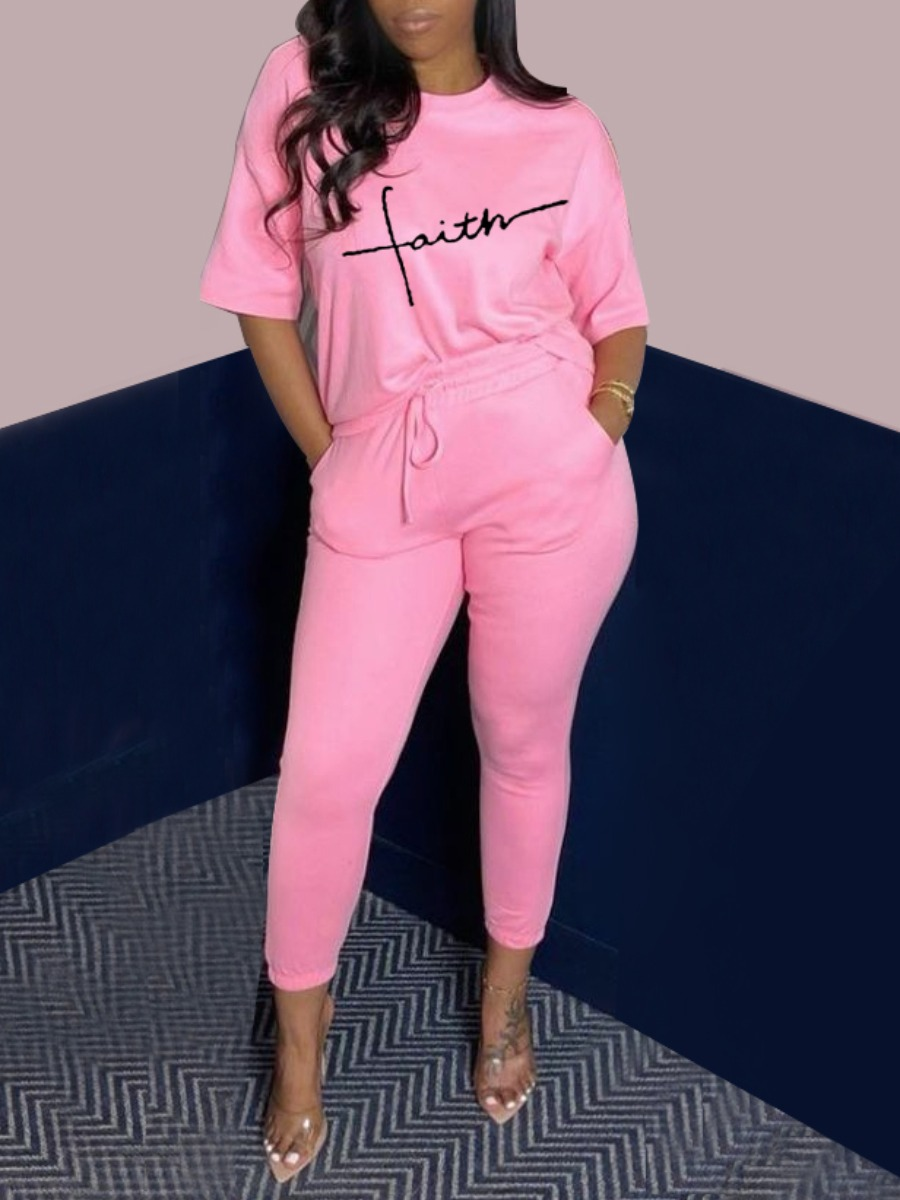Lovely Casual Letter Print Drawstring Pink Two Piece Pants Set
