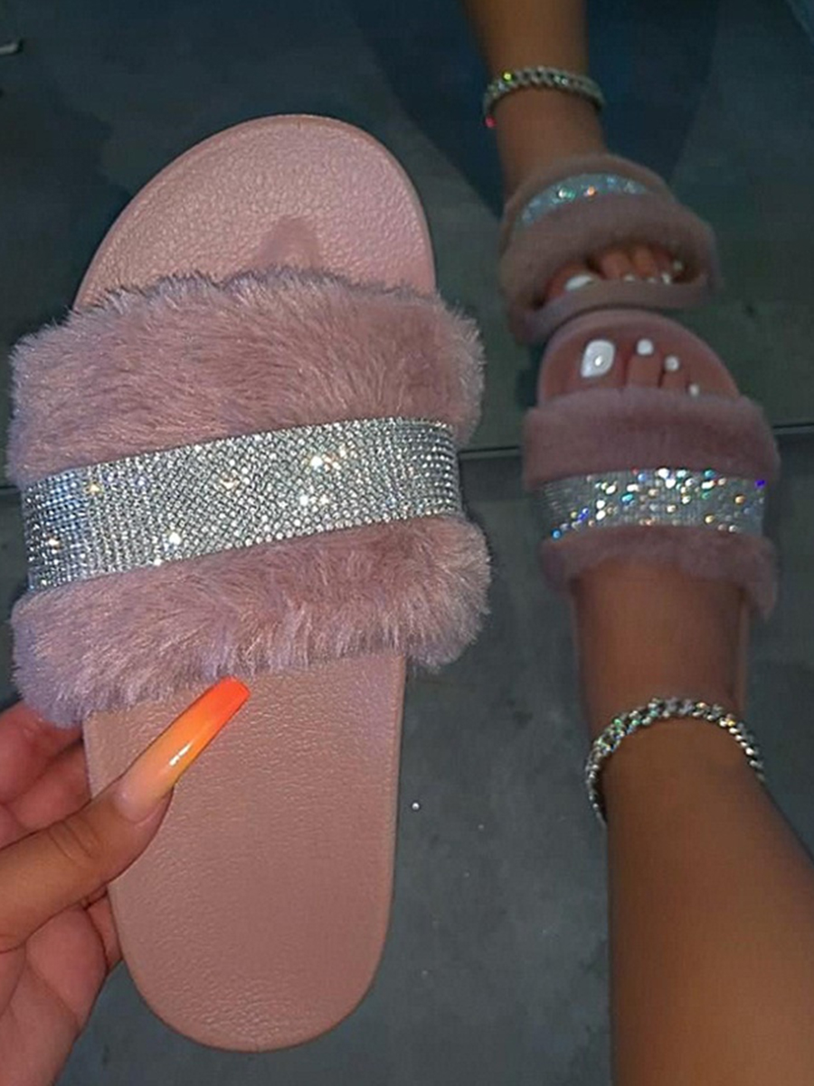 Lovely Casual Sequined Fluffy Light Pink Slippers