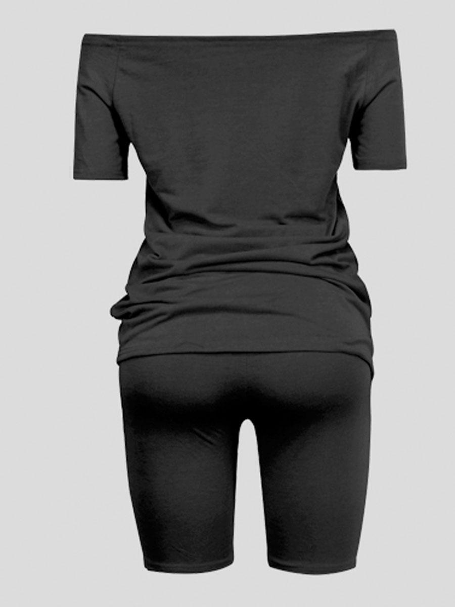 LW Plus Size Casual Boat Neck Elastic Black Two-piece Shorts Set