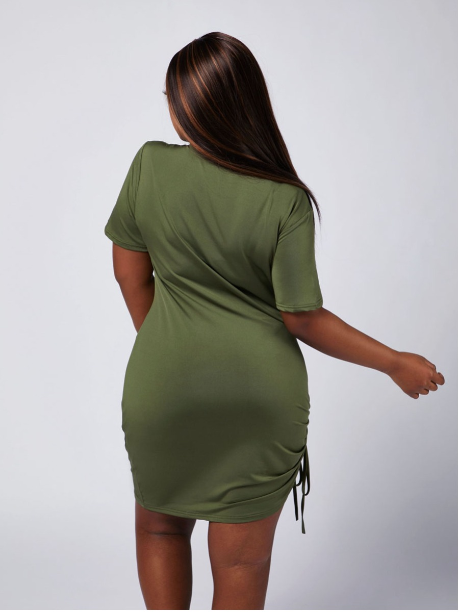 Lovely Sweet O Neck Drawstring Army Green Mini Plus Size Dress