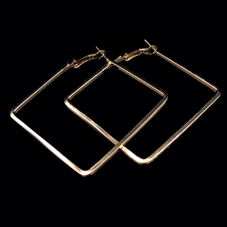 Lovely Casual Square Gold Earring