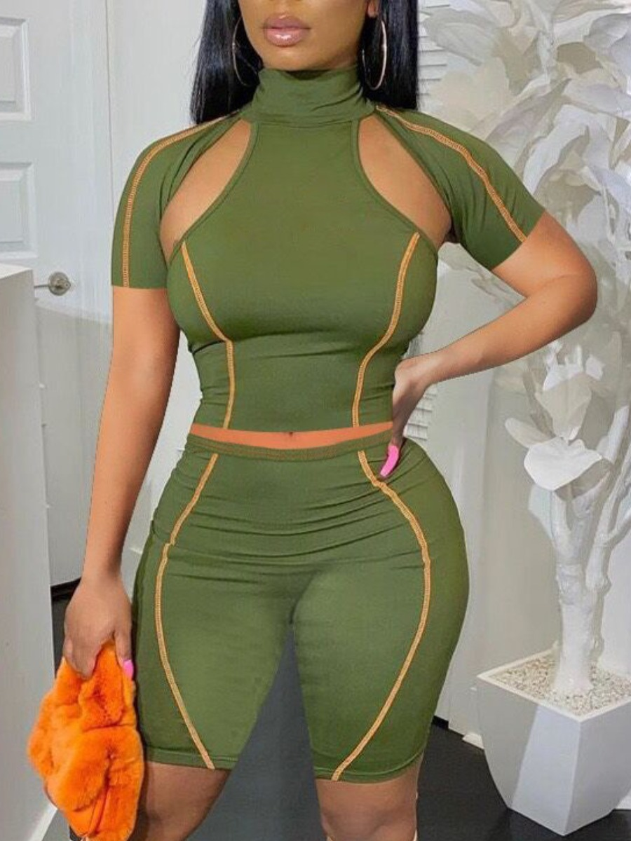 Lovely Sporty Striped Hollow-out Army Green Two Piece Shorts Set