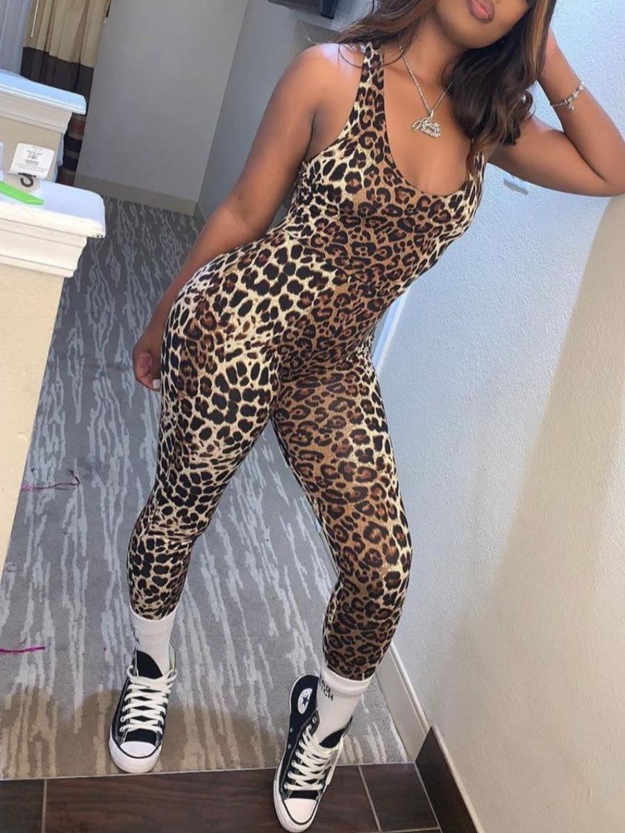 LW Casual U Neck Leopard Print One-piece Jumpsuit