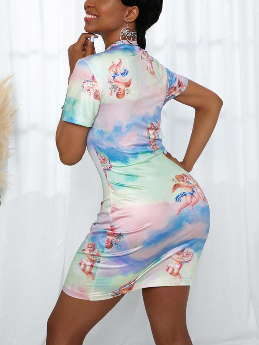LW Blending Casual Print Regular sleeve Basic Skinny Short Sleeve O Neck Mini Sheath Yes(Elastic)  Full Print Dress