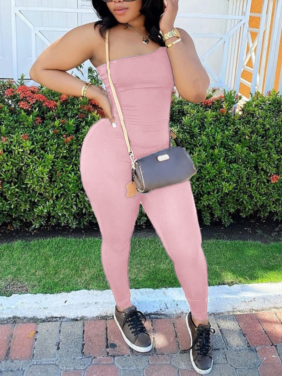 Lovely Sporty One Shoulder Bsic Skinny Pink One-piece Jumpsuit