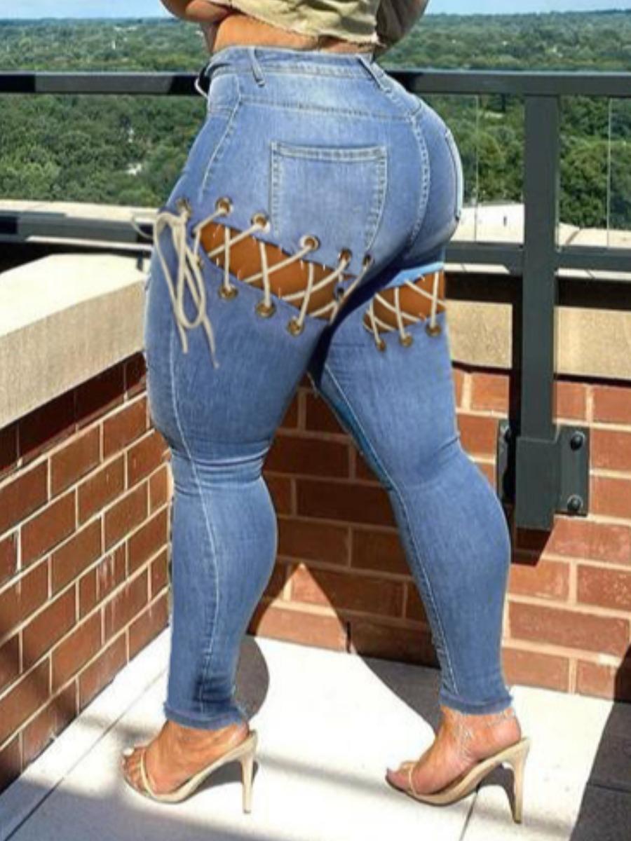 LW Plus Size Street Bandage Hollow-out Design Deep Blue Jeans