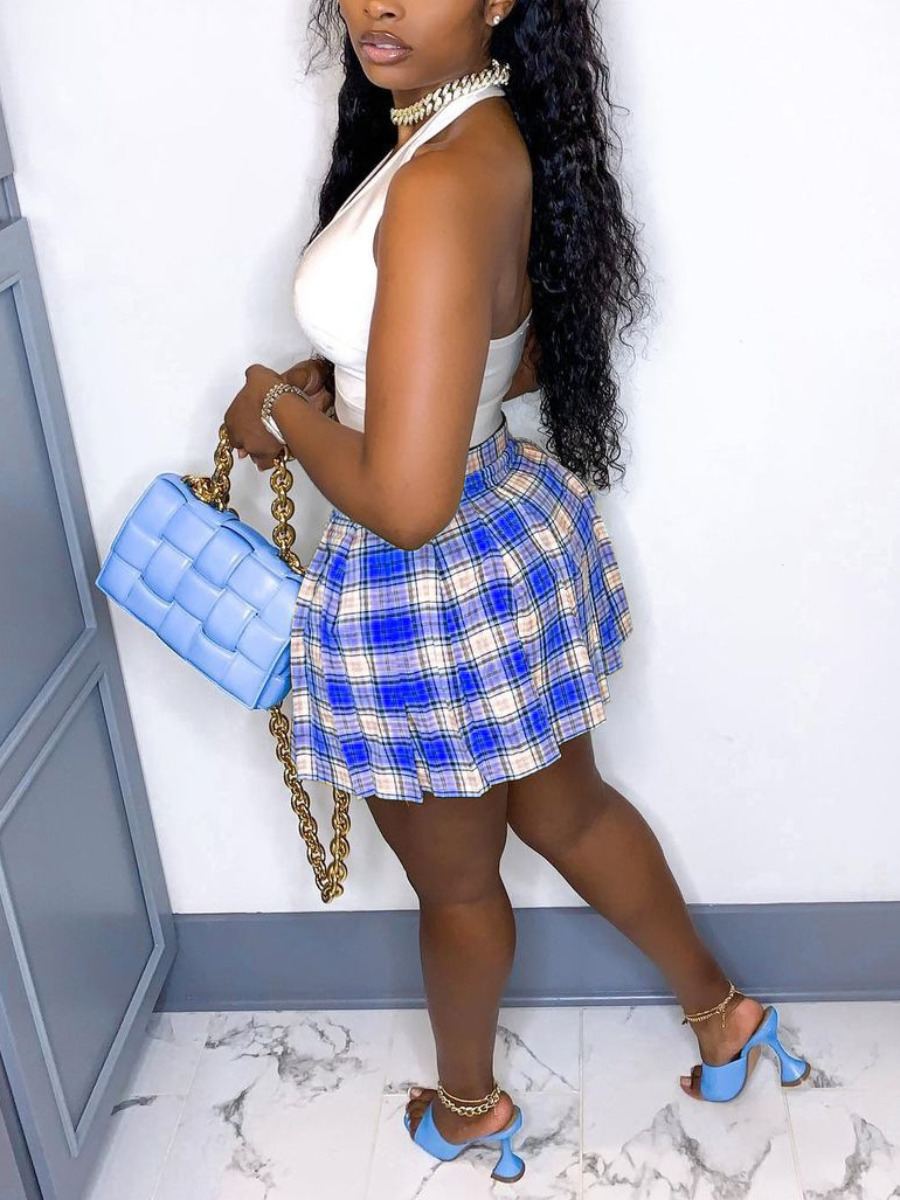 Lovely Sweet Hollow-out Plaid Print Pleated Blue Two Piece Skirt Set