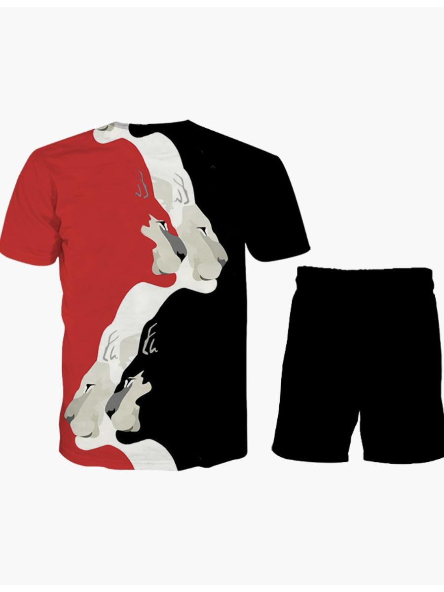 LW Men Casual Animal Print Drawstring Red Two Piece Shorts Set