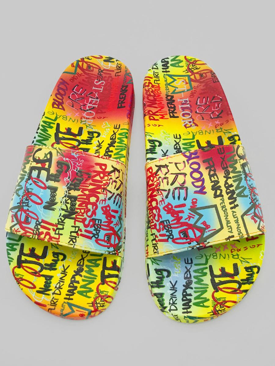 LW Street Letter Print Multicolor Slippers