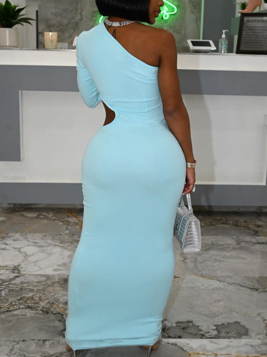 Lovely Street One Shoulder Hollow-out Baby Blue Ankle Length Dress