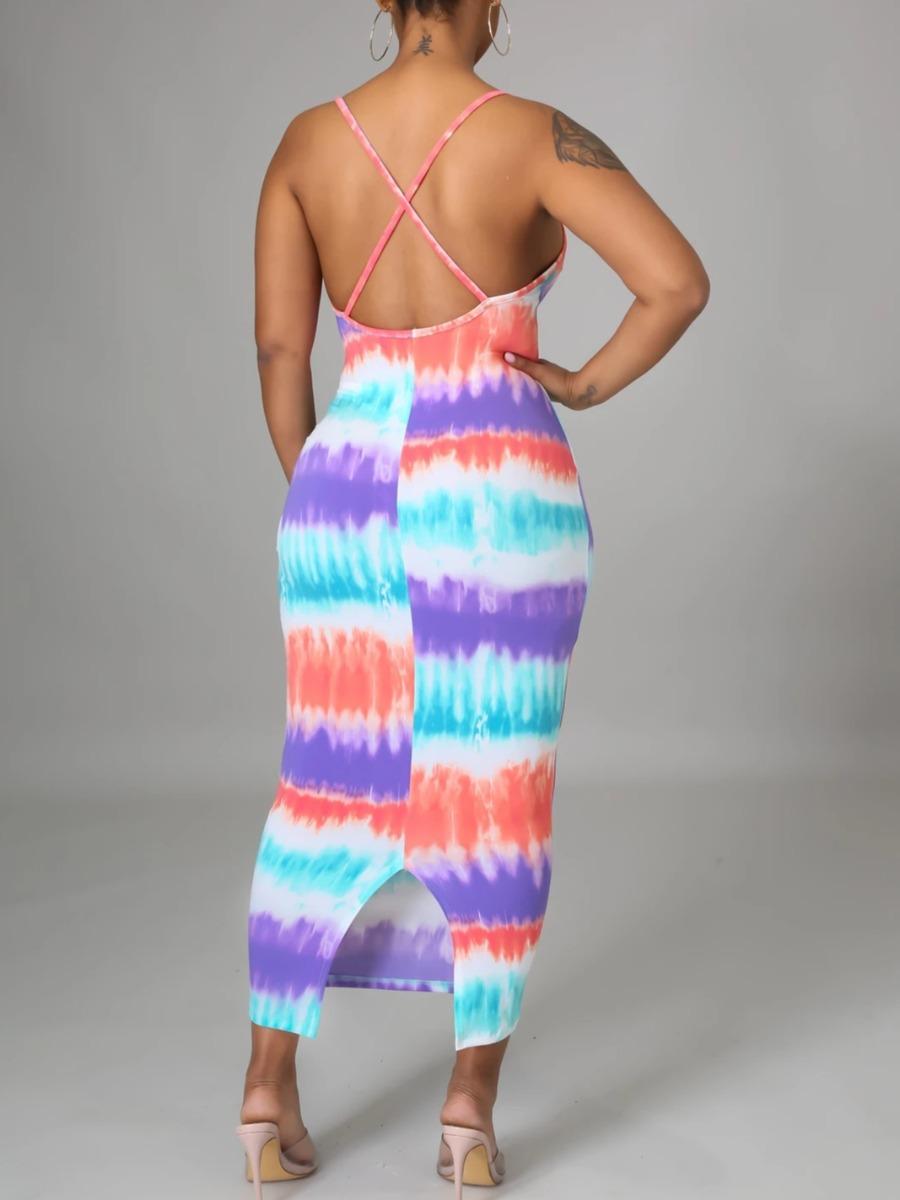 Lovely Casual Tie-dye Backless Cross Strap Multicolor Ankle Length Dress