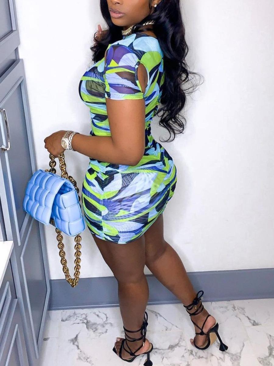 Lovely Sweet Print Patchwork Blue Mini Dress