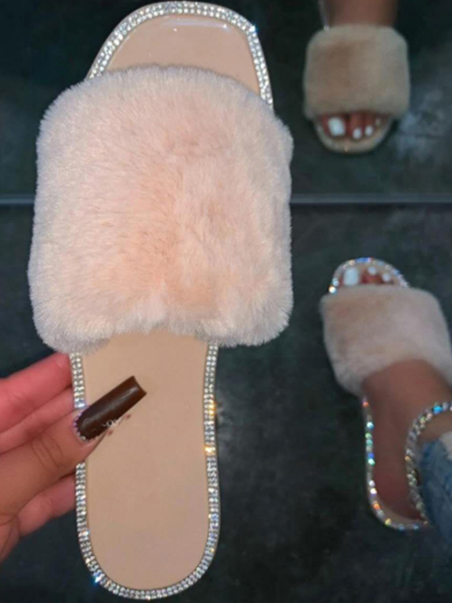 Lovely Casual Fluffy Beige Slippers