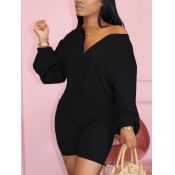 Lovely Casual V Neck Dropped Shoulder Black One-piece Romper